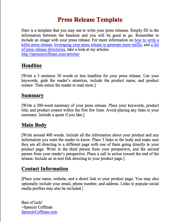 Free Press Release Template For Your Press Releases